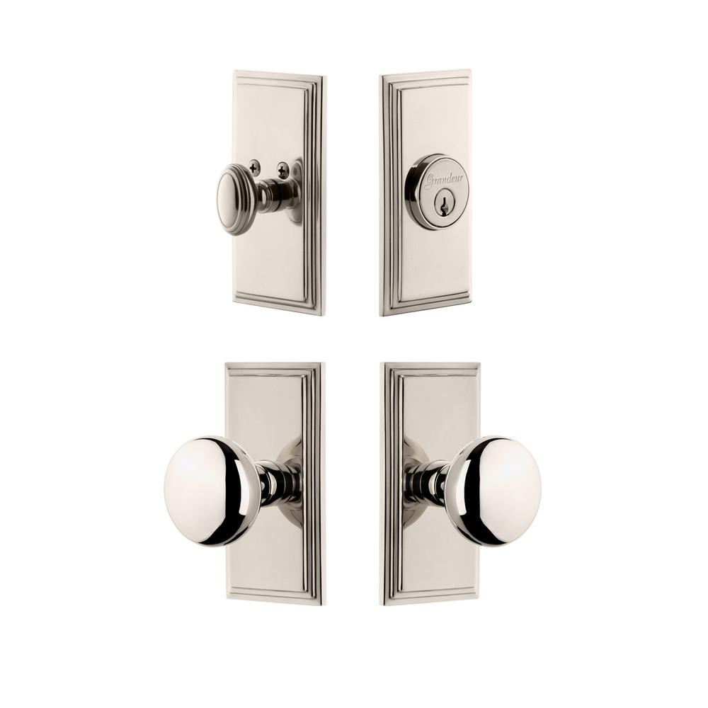 Carre Plate Polished Nickel Single Cylinder Deadbolt Combo Pack with Fifth