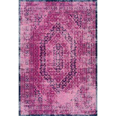 Hexagons Floral Pink 4 ft. x 6 ft.  Area Rug