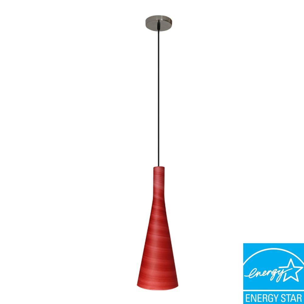 Efficient Lighting Modern Series 1-Light Ceiling Mount Pendant Fixture with Red Glass Shade and GU24 Energy Star QualifiedBulb-DISCONTINUED