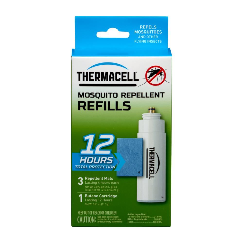 Thermacell Mosquito Repellent Refill This 12-Hour Pack of Original Thermacell Mosquito Repellent Refills effectively repel mosquitoes by creating a scent-free 15 ft. zone of protection when used in fuel-powered Thermacell Repellers. Ideal for use while you are camping, hunting, fishing, gardening and around the backyard. Thermacell products are safe, effective and come with a 100% Satisfaction Guarantee. With Thermacell, Turn it on… Mosquitoes GONE!