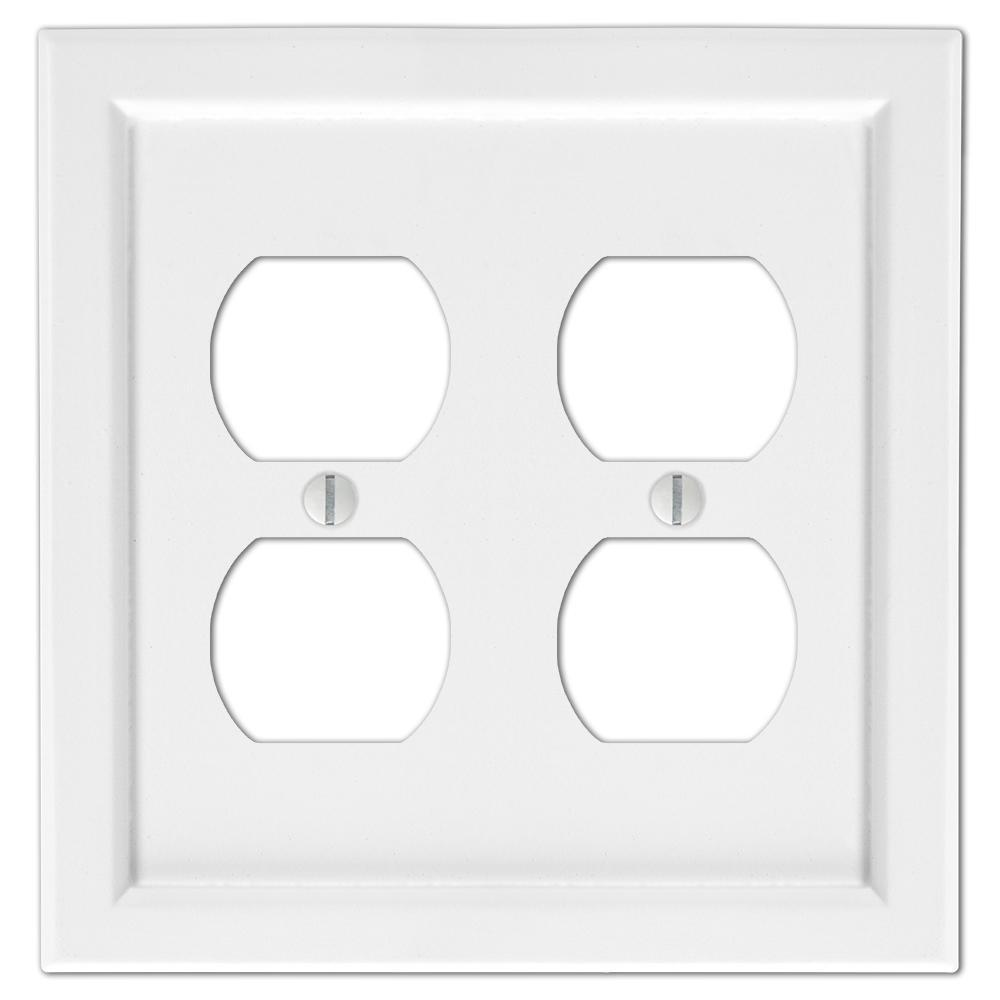 Woodmore 2 Gang Duplex Wood Wall Plate - White