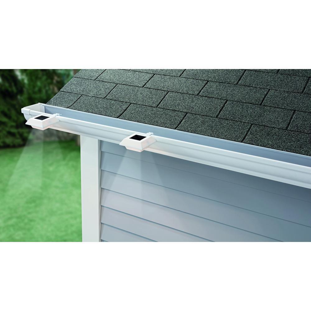 Solar Powered Integrated LED White Roof Gutter Light (4-Pack)