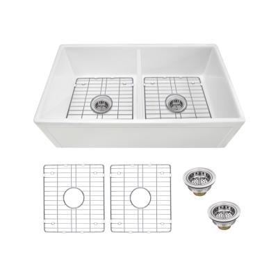 Farmhouse Apron Front Fireclay 33 in. 50/50 Picture Frame Double Bowl Kitchen Sink in White with Grids and Strainers