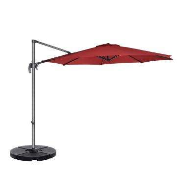 10 ft. Steel Cantilever Tilt Patio Umbrella in Red