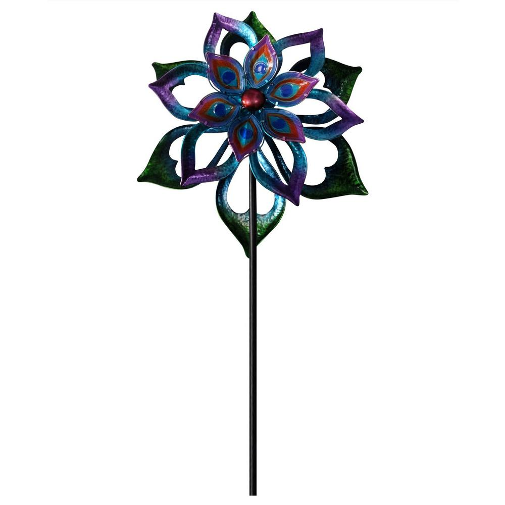 Double Sided Flower Spinning Garden Stake KPP424   The Home Depot