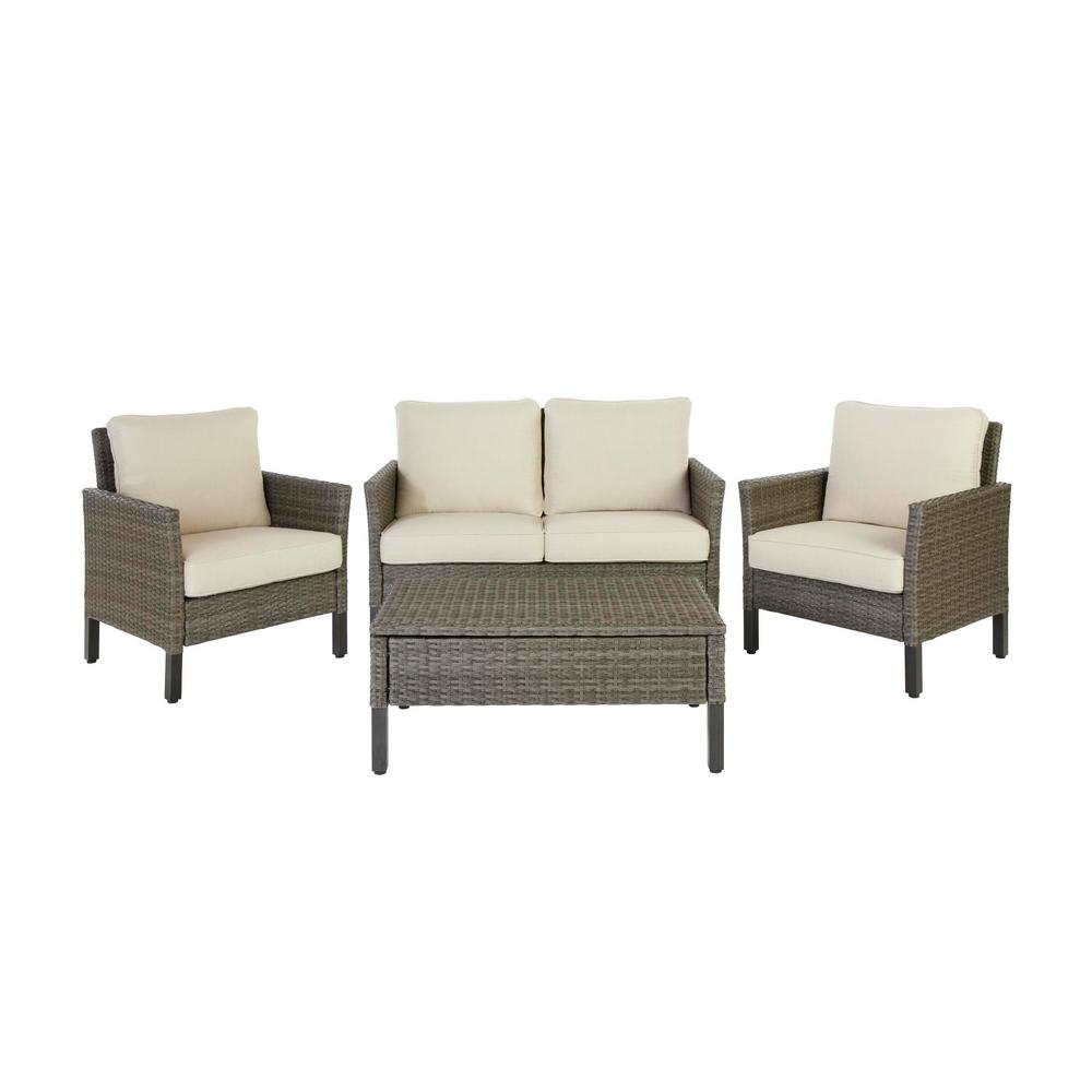 Hampton Bay Paloma Lake 4-Piece Aluminum Seating Set With Putty Cushions