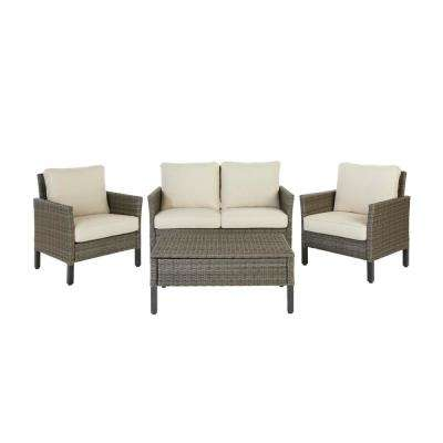 Paloma Lake 4-Piece Aluminum Seating Set With Putty Cushions