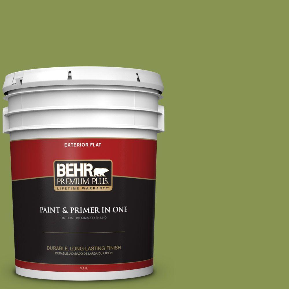 BEHR Premium Plus 5-gal. #M360-6 Bold Avocado Flat Exterior Paint