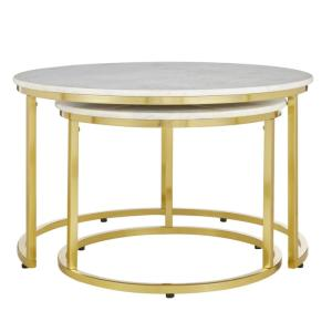 Home Decorators Cheval 2-Piece Gold/Marble Coffee Table Set Deals