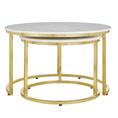 Cheval Gold Metal Nesting Coffee Tables with Marble Top (Set of 2) (30.5 in. W x 19 in. H)