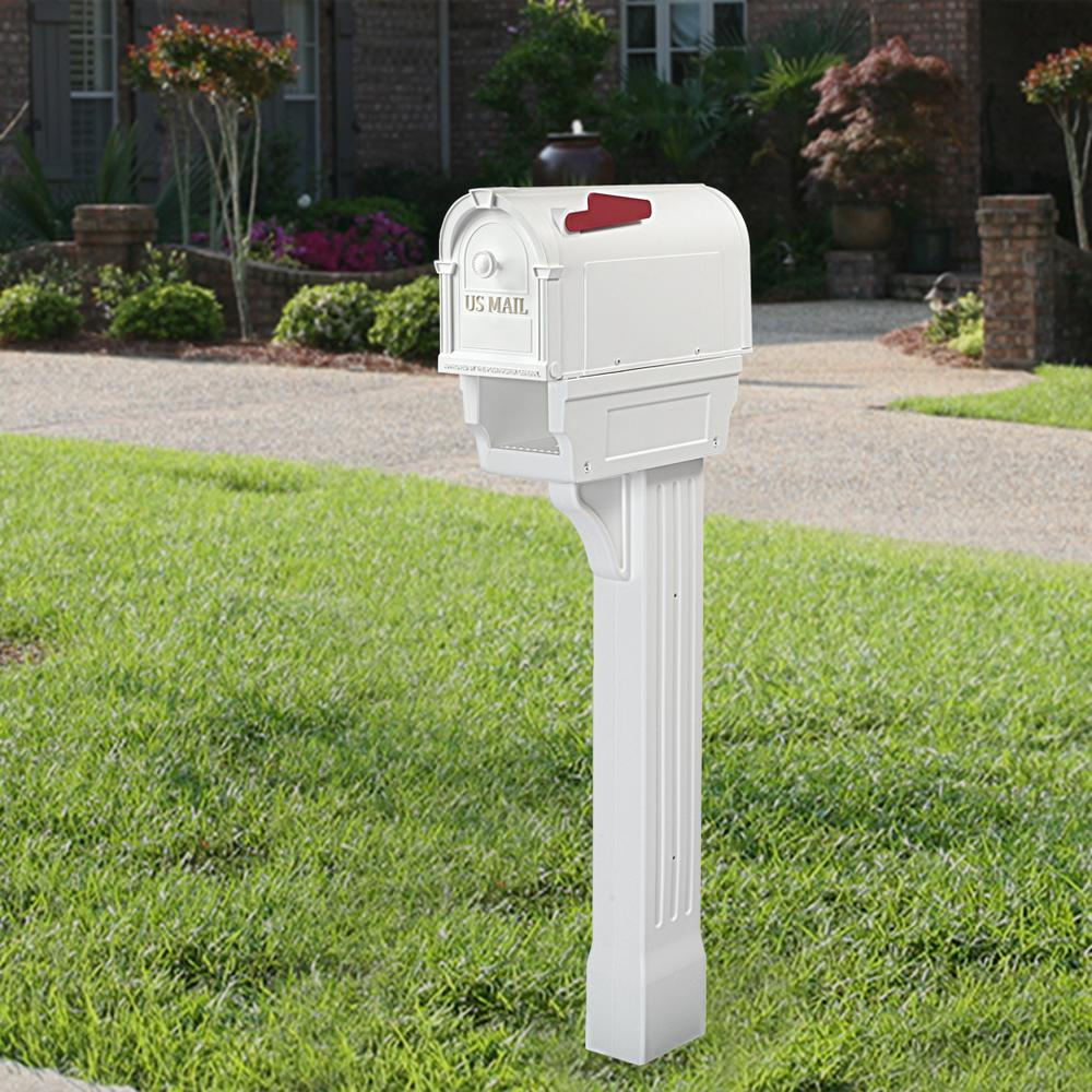 Mailbox Post Mount Heavy Duty Poly Weather Resistant Outdoor Lawn Mail Storage