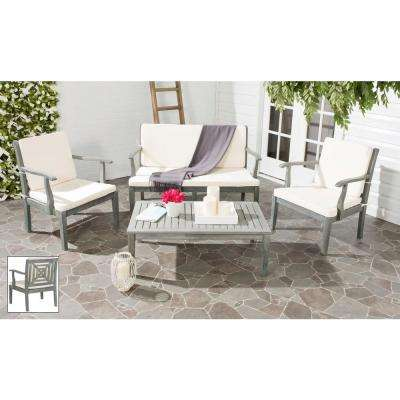 Del Mar Ash Gray 4 Piece Patio Seating Set With Beige Cushions