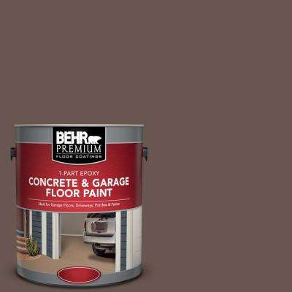 1 gal. #N180-7 Oiled Teak 1-Part Epoxy Satin Interior/Exterior Concrete and Garage Floor Paint