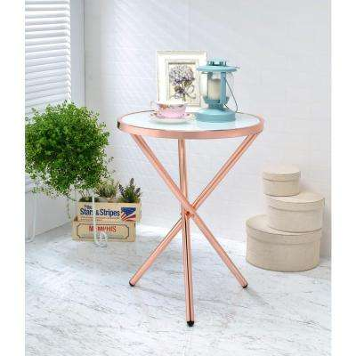 Lajita Side Table, Frosted Glass and Rose Gold