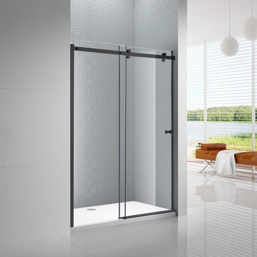 Primo 48 in. x 72 in. Frameless Sliding Shower Door in Black with 48 in. x 36 in. Acrylic Shower Base in White