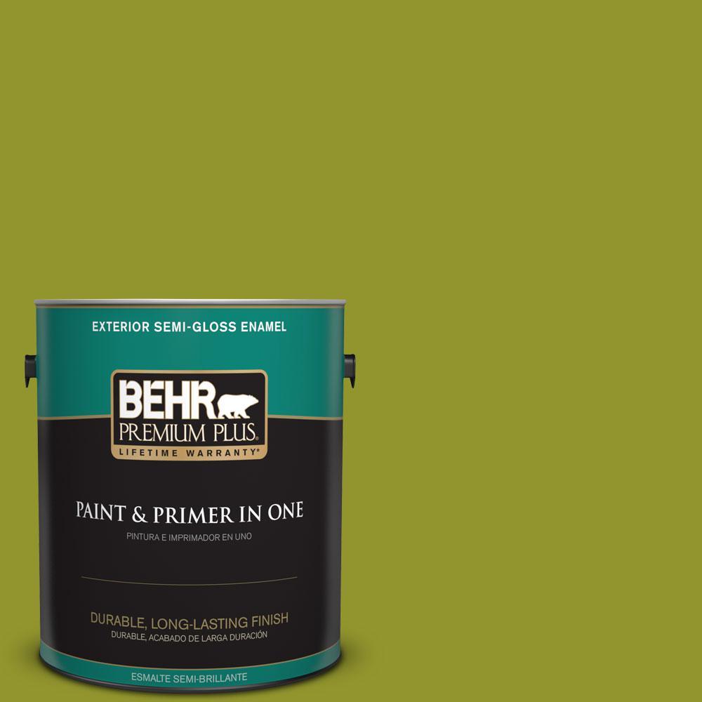 BEHR Premium Plus 1-gal. #P350-7 Lazy Lizard Semi-Gloss Enamel Exterior Paint