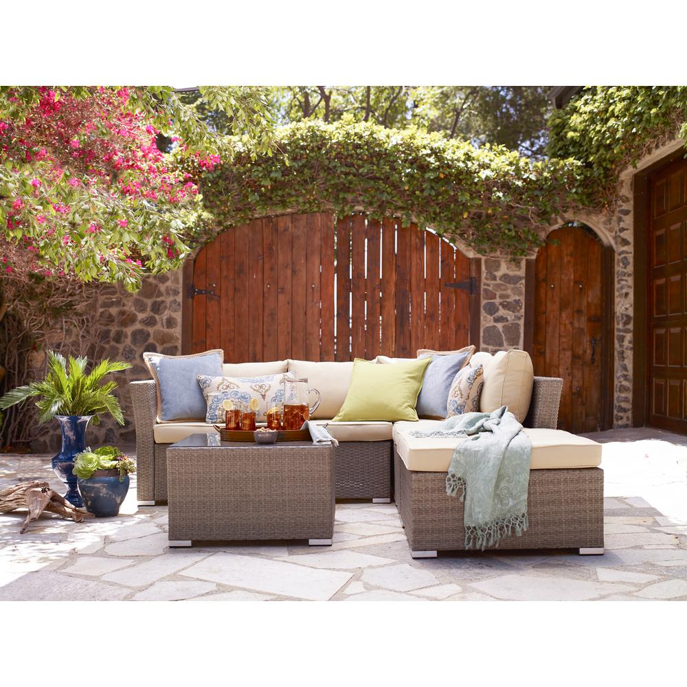 Jicaro Light Brown 5-Piece Wicker Outdoor Sectional Set with Beige Cushions