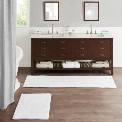 Splendor White 24 in. x 72 in. 100% Cotton Tufted 3000 GSM Reversible Bath Rug