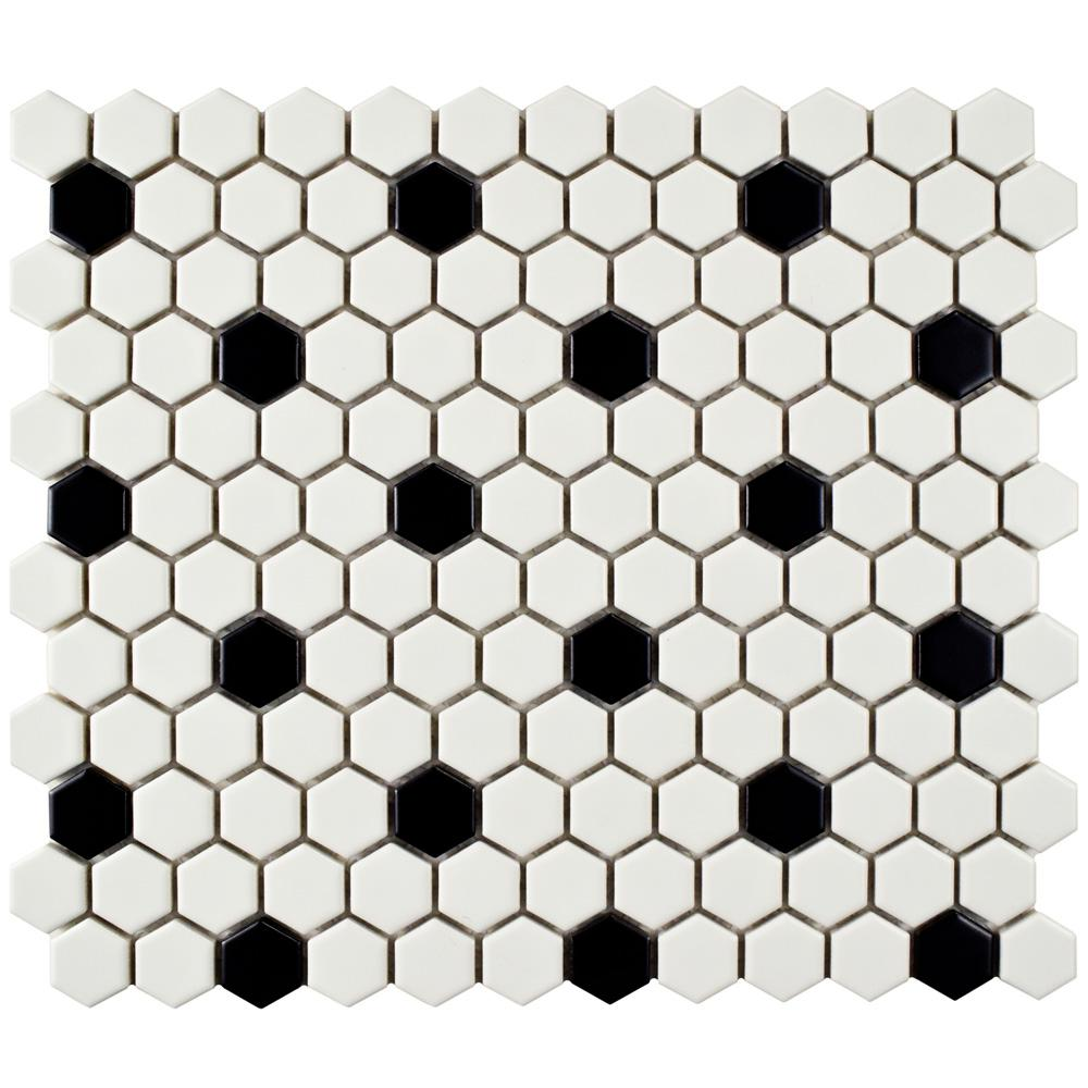 Merola Tile Metro Hex Matte White with Black Dot 10-1/4 in. x 11-3/4 in. x 6 mm Porcelain Mosaic Tile (8.54 sq. ft. / case)
