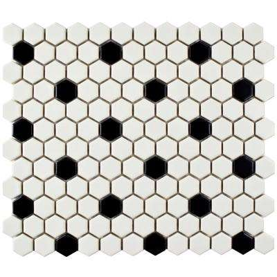 Metro Hex Matte White with Black Dot 10-1/4 in. x 11-3/4 in. x 6 mm Porcelain Mosaic Tile (8.56 sq. ft. / case)