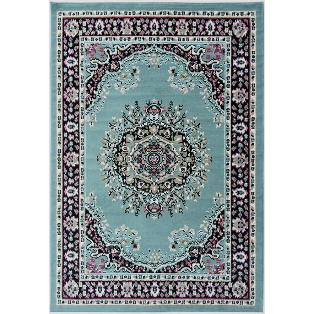 8x10 Sage Area Rug: Ottomanson Paterson Collection Traditional Medallion