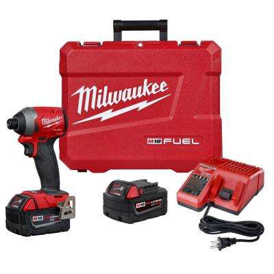 M18 Fuel 18-Volt Lithium-Ion Brushless Cordless 1/4 in. Hex Impact Driver Kit with (2) 5.0Ah Batteries Charger Hard Case