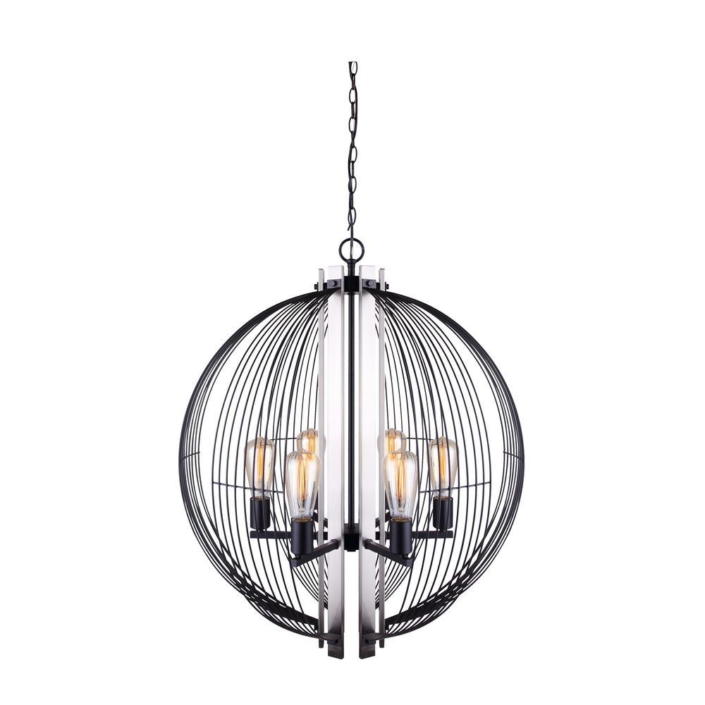 CANARM Memphis 6-Light Matte Black and Brushed Nickel Sphere Chandelier