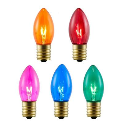 8-Pack Multi-Colored Incandescent C9 Replacement Bulbs
