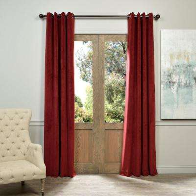 Blackout Signature Burgundy Red Grommet Blackout Velvet Curtain - 50 in. W x 120 in. L (1 Panel)