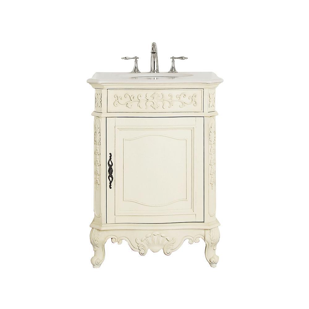 Winslow 26 in. W x 22 in. D Vanity in Antique White with Marble Vanity Top in White with White Sink