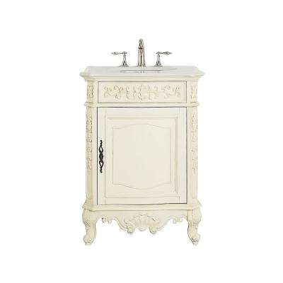 Winslow 26 in. W x 22 in. D Vanity in Antique White with Marble Vanity Top in White with White Basin