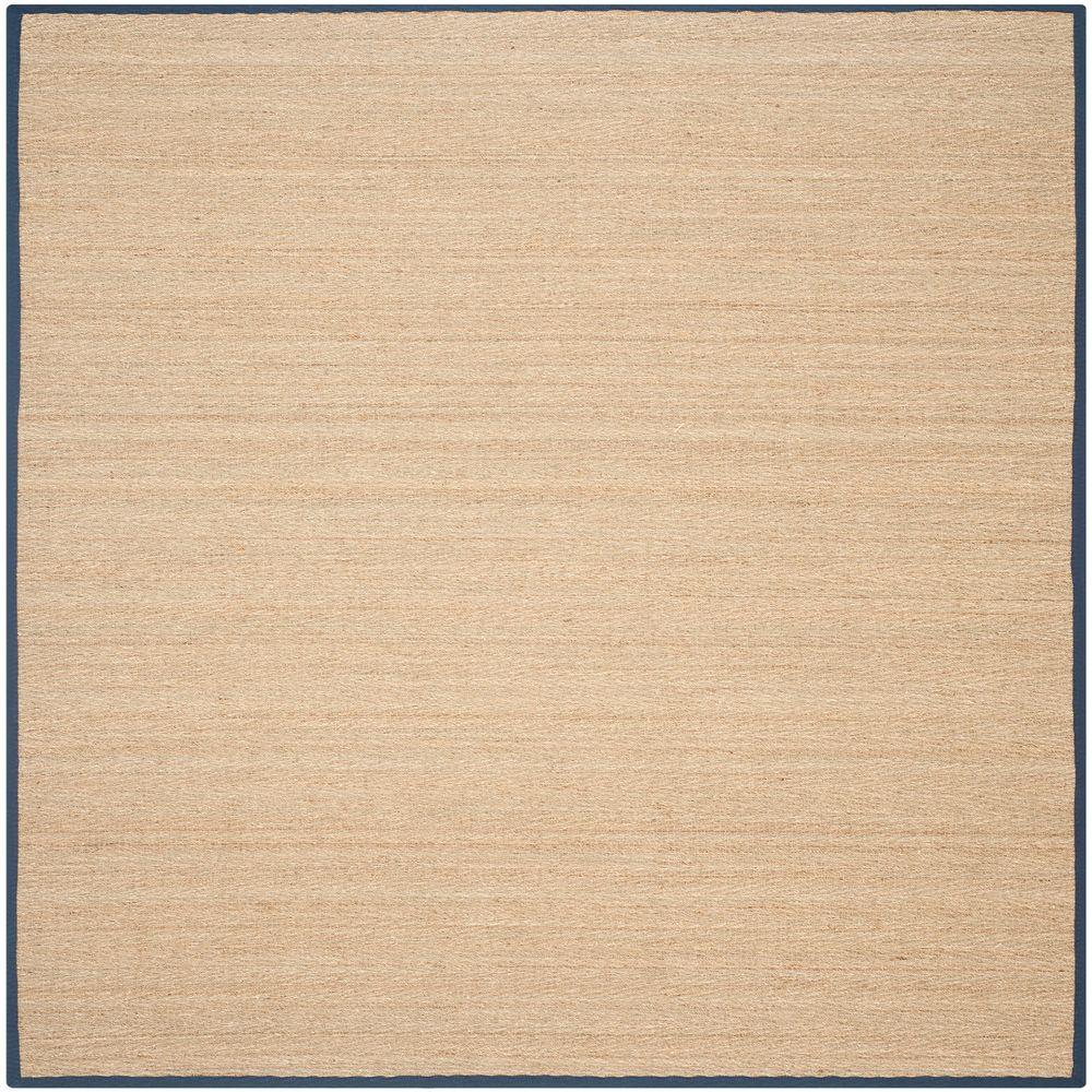 Natural Fiber Beige/Blue 6 ft. x 6 ft. Square Area Rug