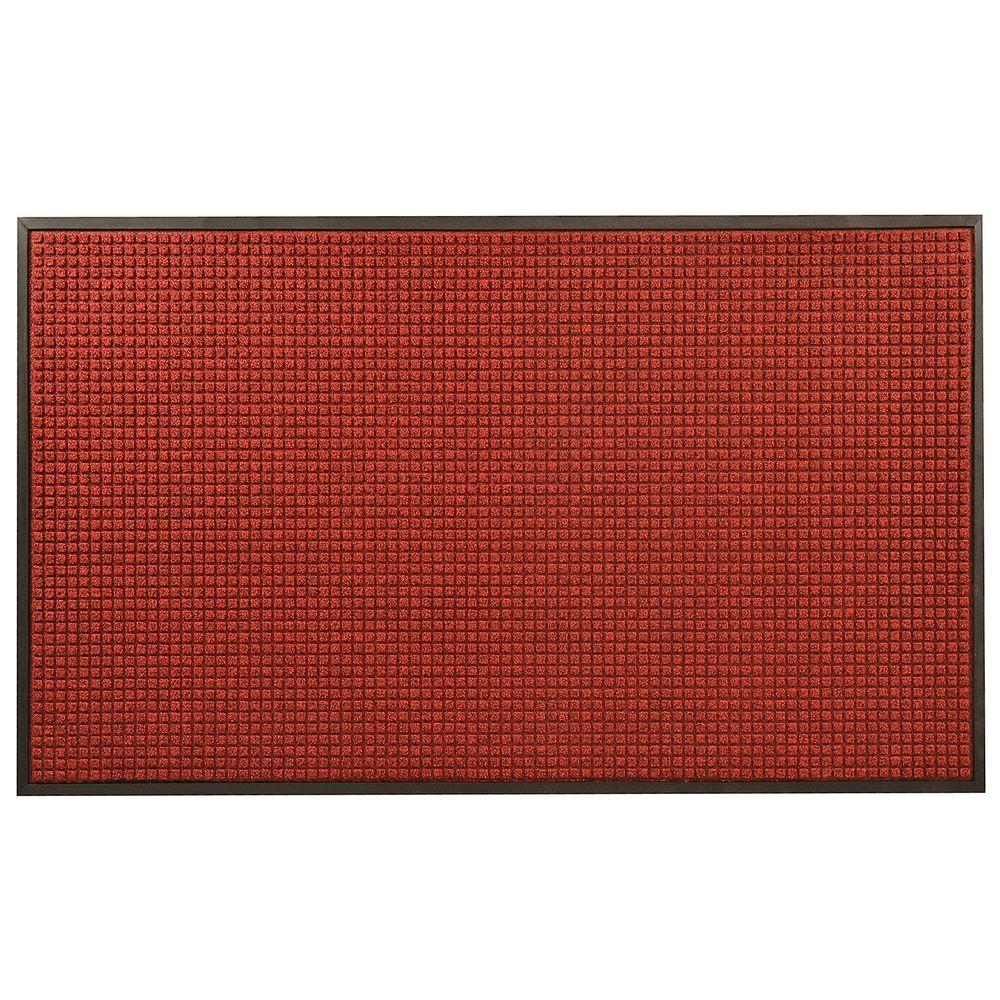 Guzzler Red/Black 24 in. x 36 in. Rubber-Backed Entrance Mat