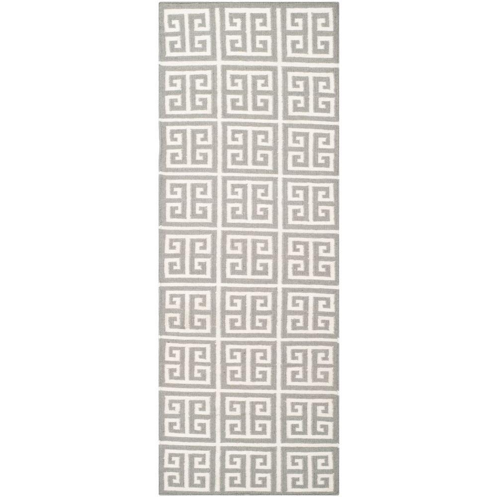 Dhurries Grey/Ivory 2 ft. 6 in. x 7 ft. Runner