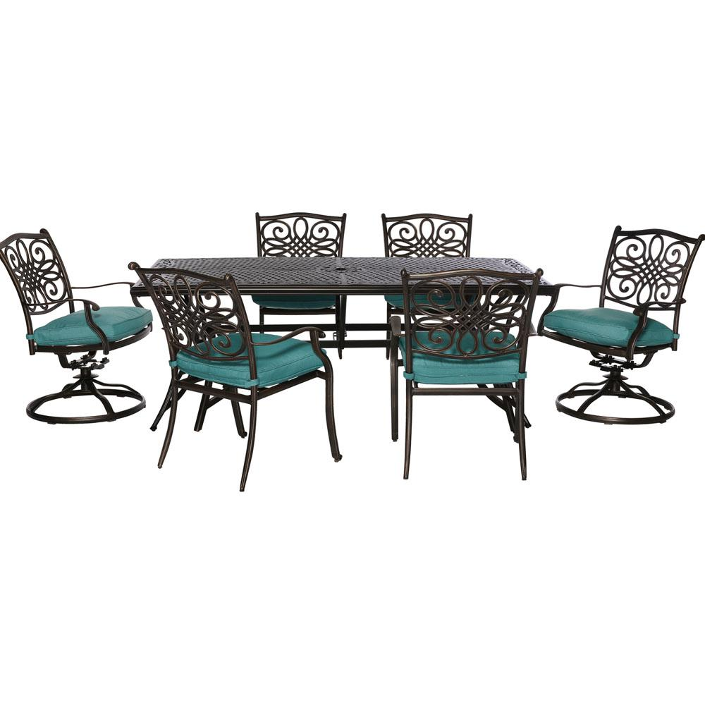 Traditions 7-Piece Aluminum Outdoor Rectangular Patio Dining Set and 2 Swivel