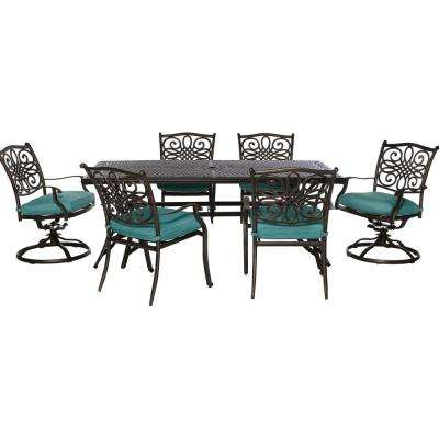Traditions 7-Piece Outdoor Rectangular Patio Dining Set and 2 Swivel Rockers with Blue Cushions