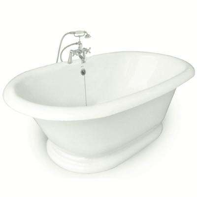 72 in. AcraStone Acrylic Double Pedestal Flatbottom Non-Whirlpool Bathtub and Faucet in Satin Nickel
