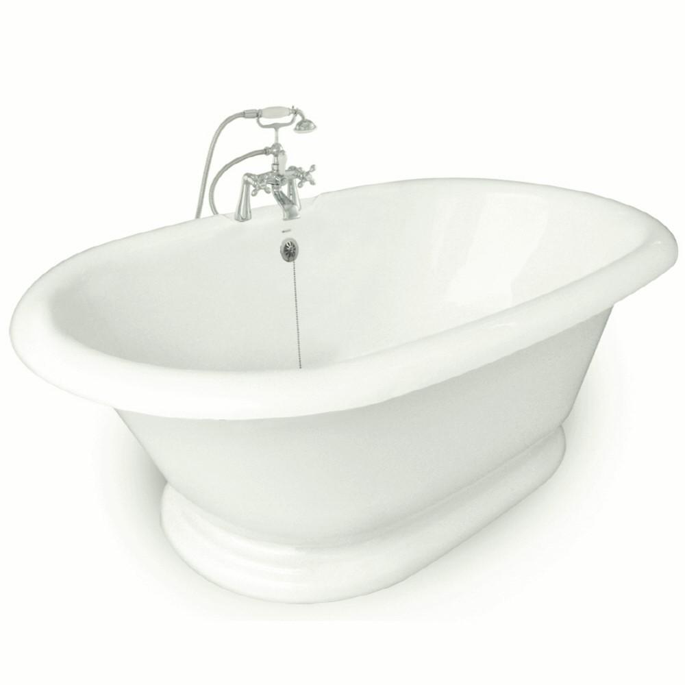 72 in. AcraStone Acrylic Double Pedestal Flatbottom Non-Whirlpool Bathtub and Faucet in Satin Nickel