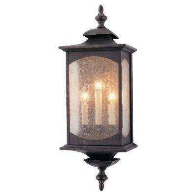 Market Square 3-Light Oil Rubbed Bronze Outdoor 25 in. Wall Lantern Sconce