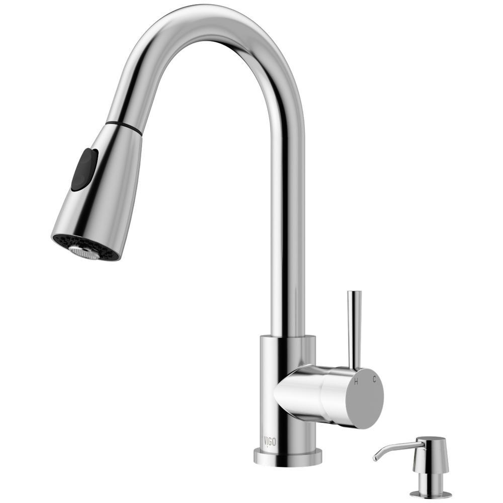 Details about Vigo Kitchen Faucet Soap Dispenser Weston Single Handle Pull  Down Sprayer Chrome