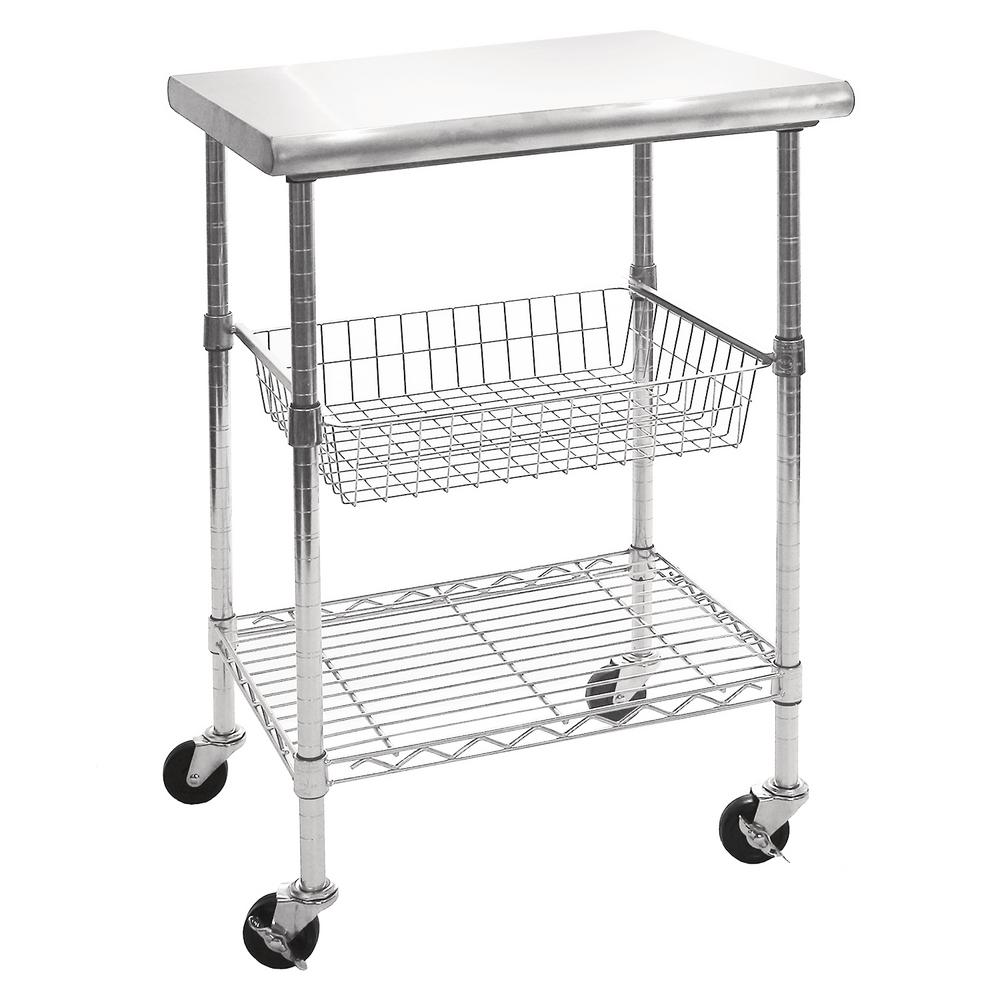 Stainless Kitchen Cart: EcoStorage 48 In. NSF Stainless Steel Table With Wheels