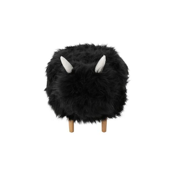 Noble House Levi Black Faux Fur Yak-Inspired Ottoman 305821