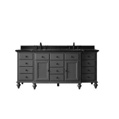 Heartside 72 in. W x 23 in. D Vanity in Dark Charcoal with Granite Vanity Top in Black with White Basin