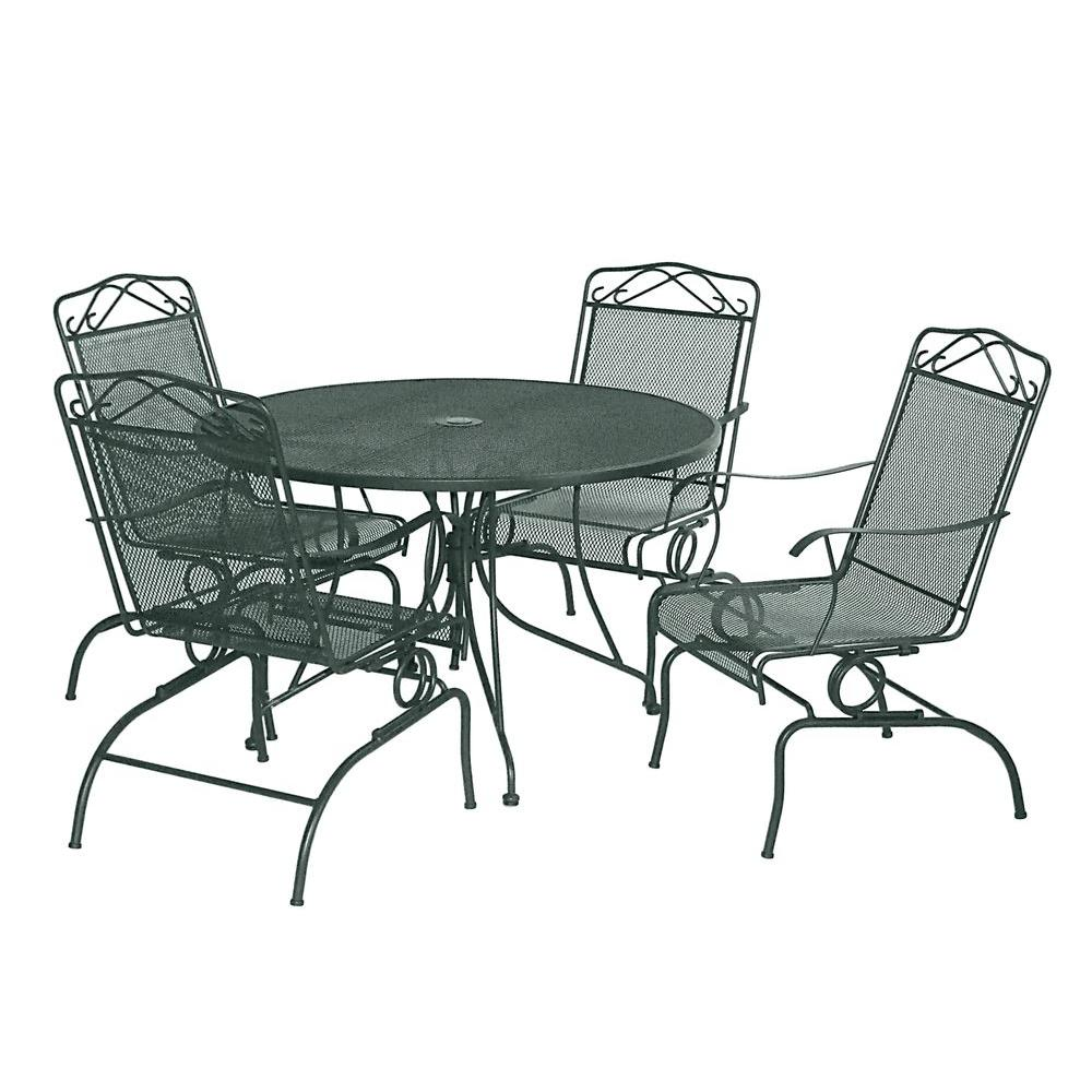 null Green Wrought Iron 5-Piece Action Patio Dining Set-DISCONTINUED