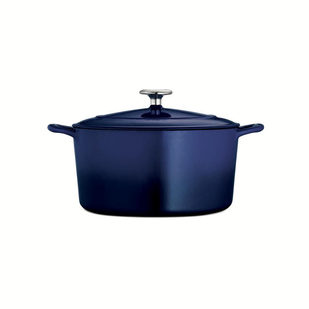 Gourmet 6.5 qt. Round Porcelain-Enameled Cast Iron Dutch Oven in Gradated Cobalt with Lid