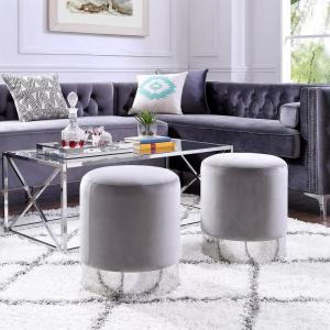 Astonishing Inspired Home Caroline Grey Chrome Velvet Round Ottoman With Caraccident5 Cool Chair Designs And Ideas Caraccident5Info