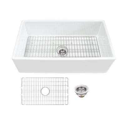 Farmhouse Apron Front Fireclay 33 in. Single Bowl Kitchen Sink in White with Grid and Strainer