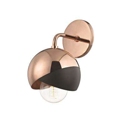 Emma 1-Light Polished Copper Wall Sconce with Black Accents