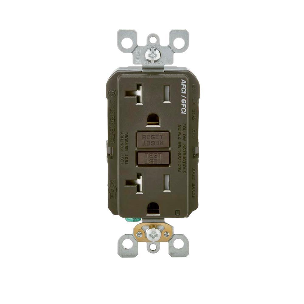 20 Amp 125-Volt AFCI/GFCI Dual Function Outlet, Brown