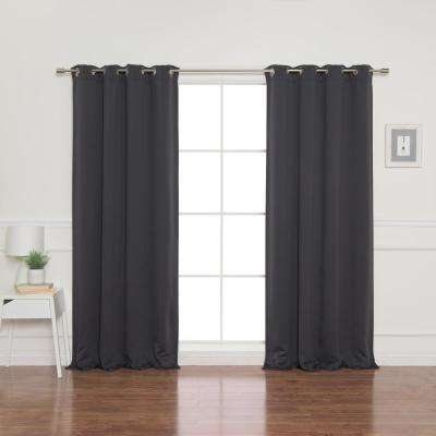 52 in. W x 84 in. L Flame Retardant Blackout Curtain Panel Set Dark Grey